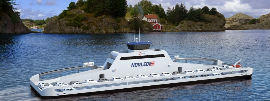 The world's first electric ferry will enter service in Norway's Sognefjord in 2015. It will have a capacity of 360 passengers and 120 cars without any emissions. (Credit: siemens.com) Click to Enlarge.
