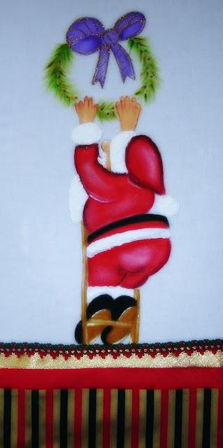 pintura em tecido motivo natalino papai noel