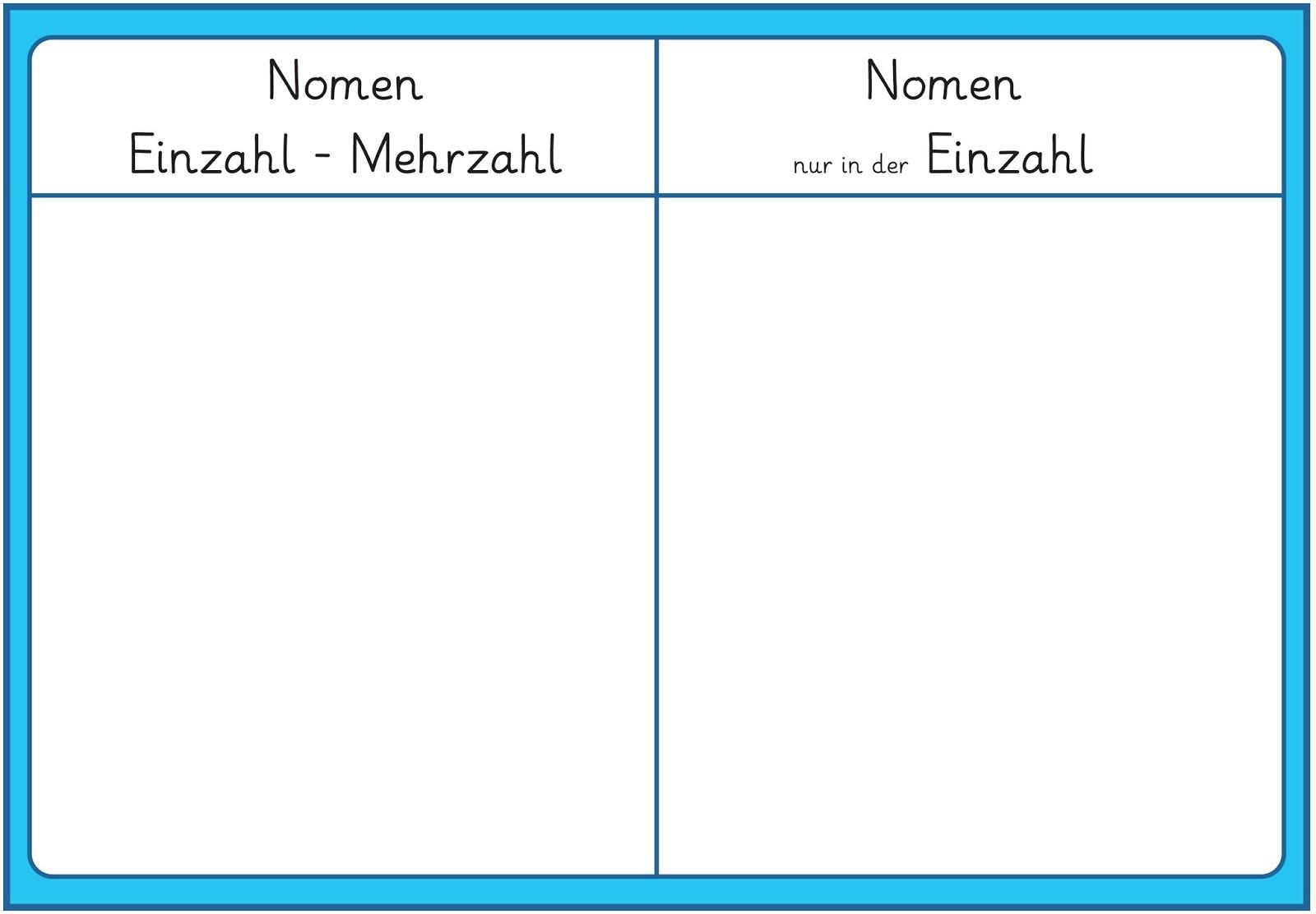 Arbeitsblätter Nomen Einzahl Mehrzahl : Lernstübchen nomen nur in der einzahl