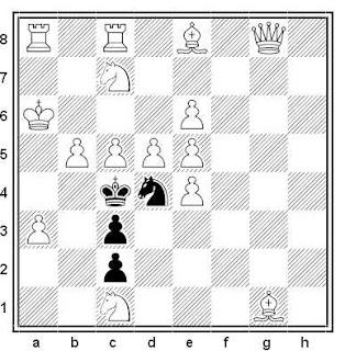 Problema de mate en 2 compuesto por Gérard Doukhan (2º Premio, British Chess Magazine 1978)