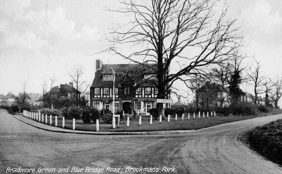 Photograph of a postcard of Bradmore Green and Bluebridge Road, Brookmans Park in the 1930s - Image from P. Miller