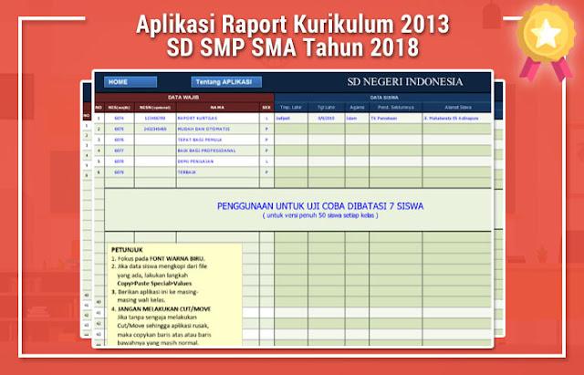 Aplikasi Raport Kurikulum 2013 SD SMP SMA Tahun 2018