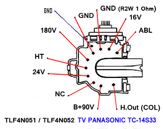 Data Pin Out Flyback TLF4N051 TLF4N052 TV Panasonic Hyper Band TC-14S33