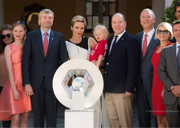 Prince Albert, Princess Charlene held reception at Monaco Principality Palace for AS Monaco FC players, Prince Jacques wore AS Monaco shirt