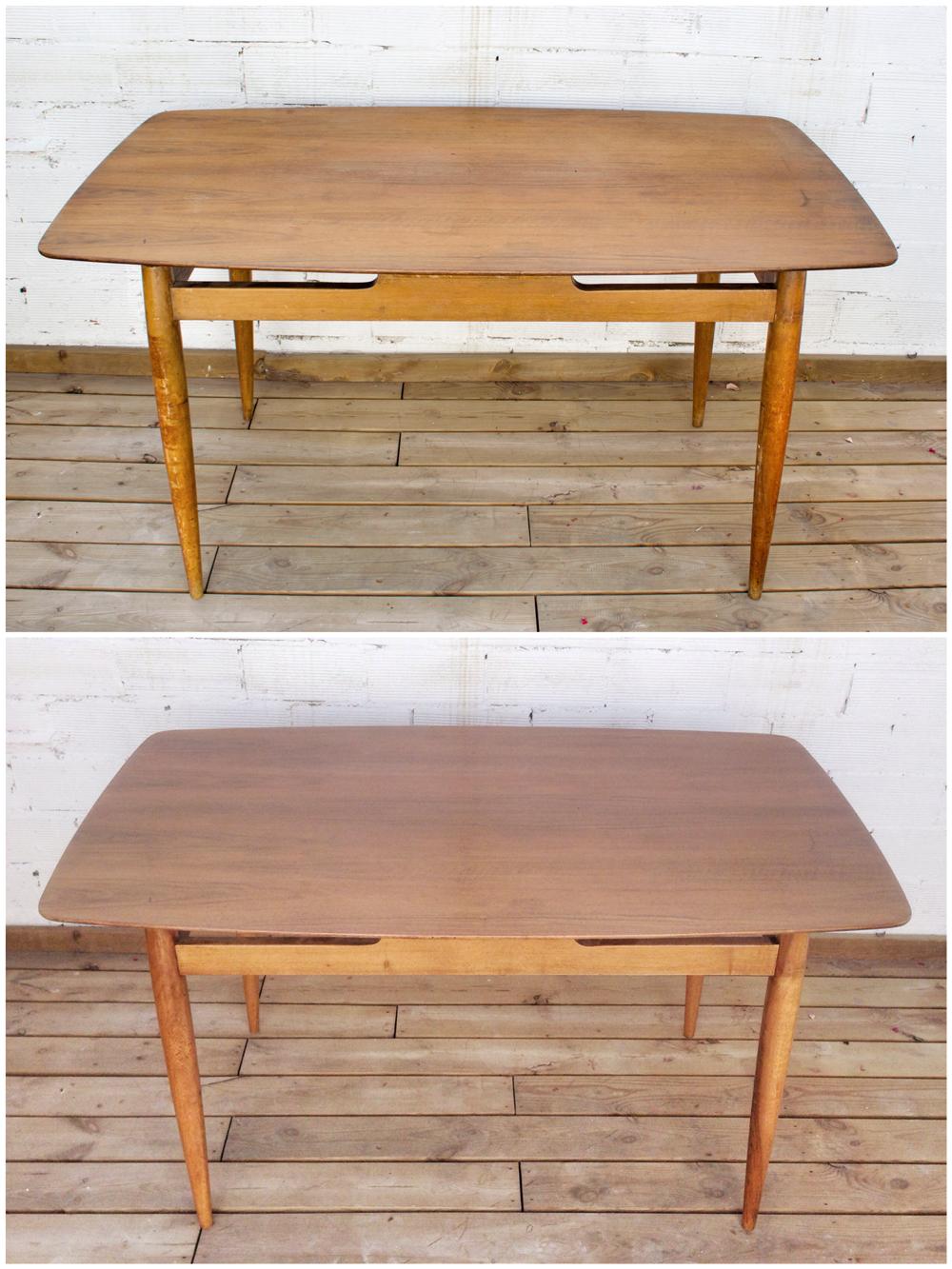 Antes y después - mesa restaurada - Studio Alis