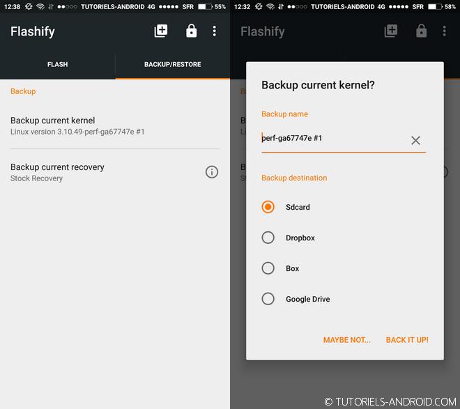 Sauvegarder son kernel avec Flashify
