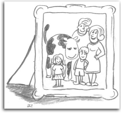 הפרה כבת משפחה, איור: ניצן בן משה גלנטי
