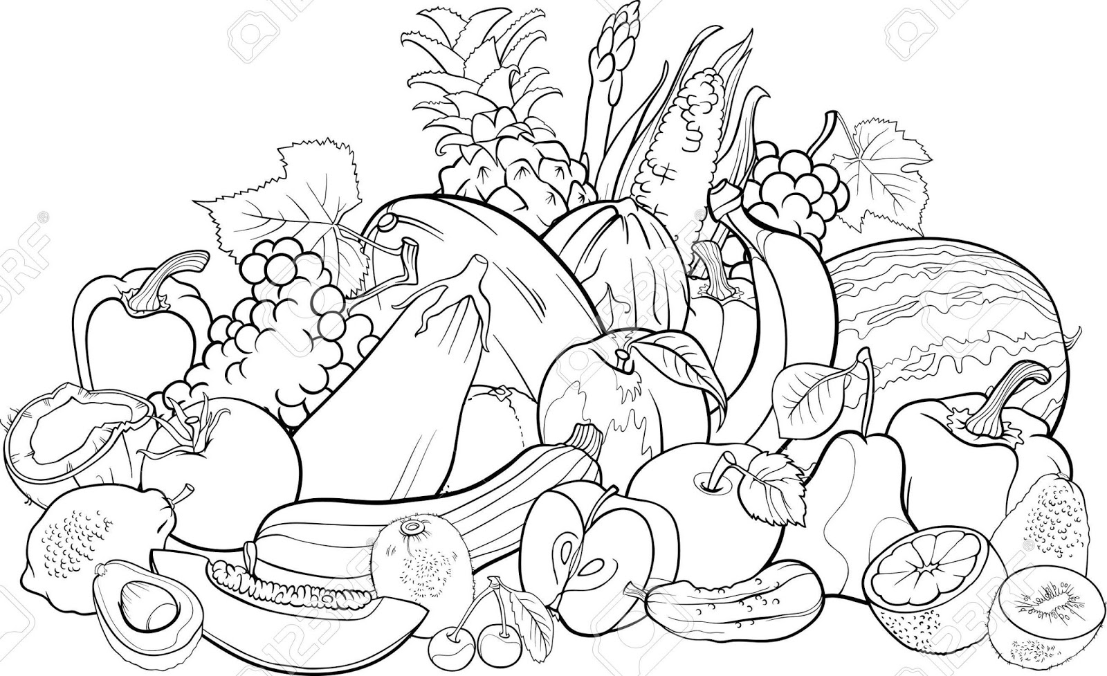 Vegetable garden kids drawing - Fruits And Vegetables Big Group Coloring Pages For Kids