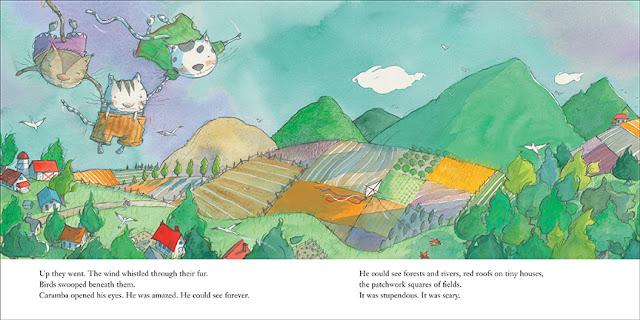 El gato Caramba quiere aprender a volar como sus amigos, ilustración del cuento Caramba