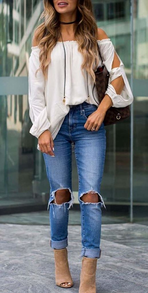amazing outfit idea: blouse + ripped jeans + heels