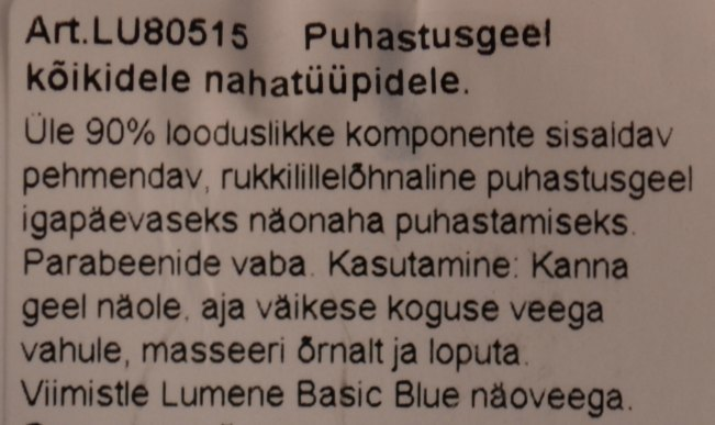 Lumene Basic Blue puhastugeeli info pakendilt