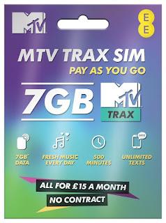 MTV Trax SIM Card by EE, FREE MTV TRAX + 7GB, 500mins, Unltd Text 30 days 4G UK