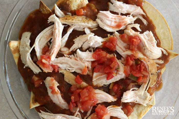 Third layer of preparation for Easy Mexican Chilaquiles by Renee's Kitchen Adventures