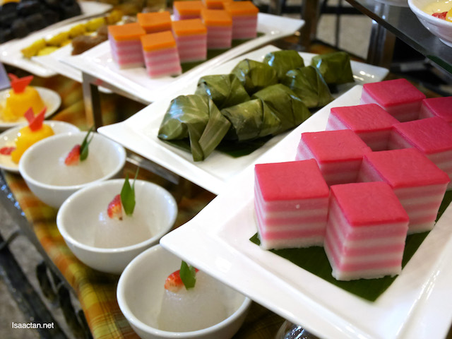 Assortment of kuih melayu and dessert