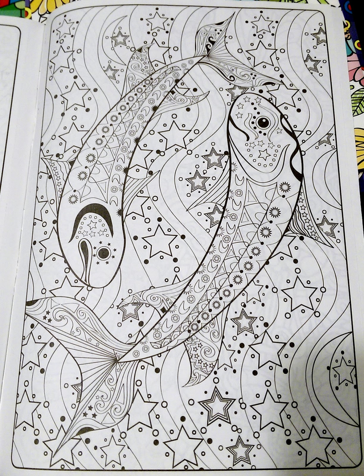 Piscies Ying Yang Design Fish Astrology Stars Astronomy Color Book Page Adult Fun Relaxing ASMR