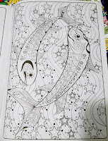 Piscies ying-yang design fish astrology stars astronomy color book page Adult Fun relaxing ASMR
