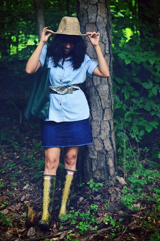 Hunter Boots With Denim Skirt
