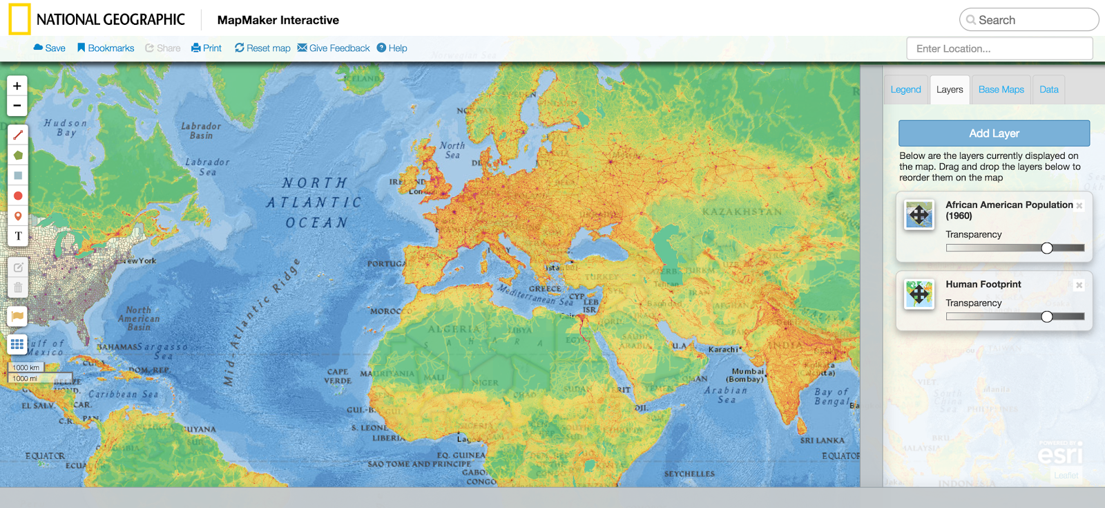 National Geographic S Map Maker Is A Wonderful Tool To Use With Many Features Zoom In And Out On Maps Create Layers Add Drawings Insert Video Links And