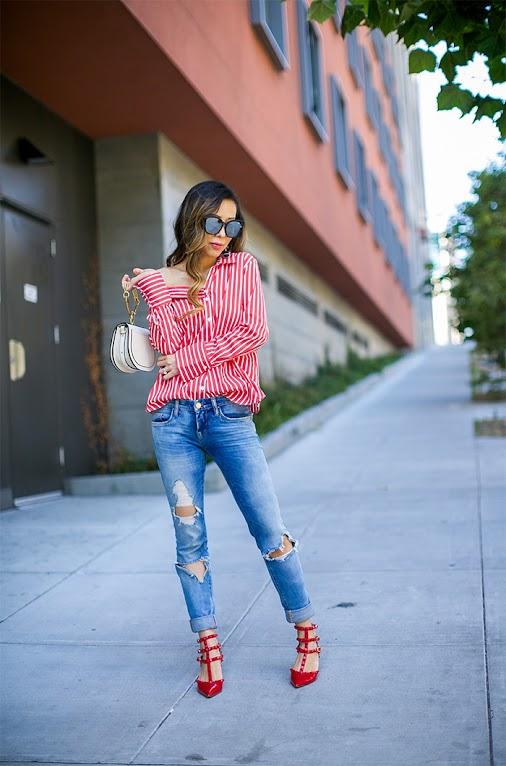 #stripetop  #striped  #offshoulder  #asymetrical  #oneshoulder  #blanknyc  #distressedjeans  ...