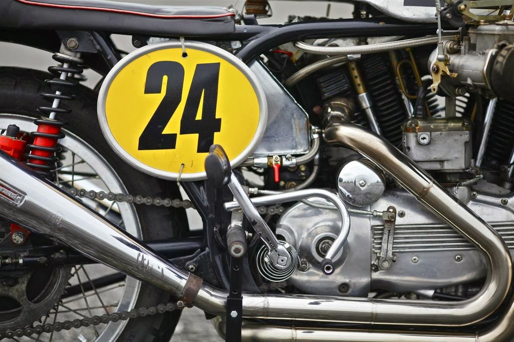 Topping Off The List Of Classic Cafe Racer Components Are Dunstall Rear Sets And Decibel Silencers Mounted To A Custom Set Headers Who Could Forget