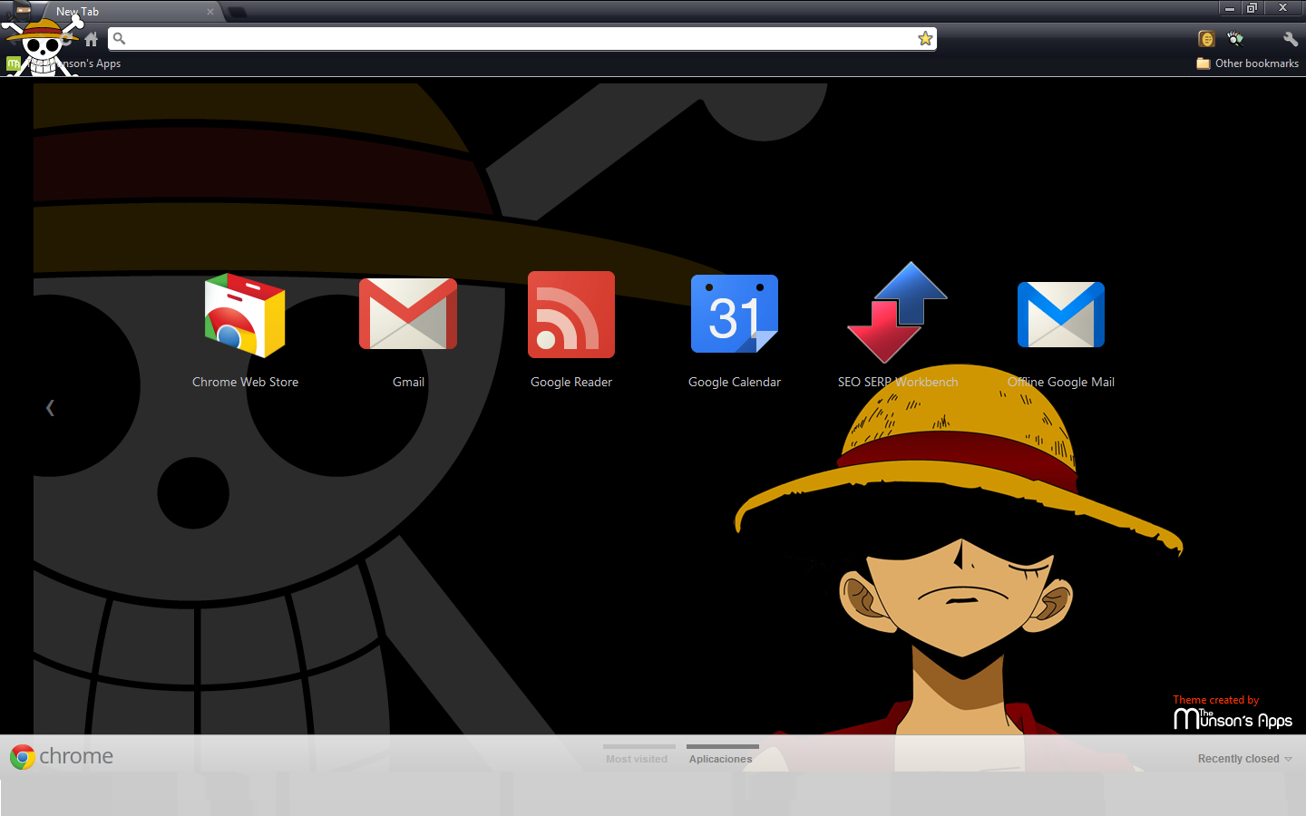 The Munson S Apps Anime Chrome Theme One Piece Monkey D