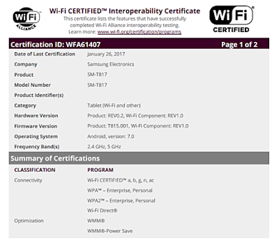Samsung Galaxy Tab S2 dengan Android Nougat Dapatkan Sertifikat WiFi