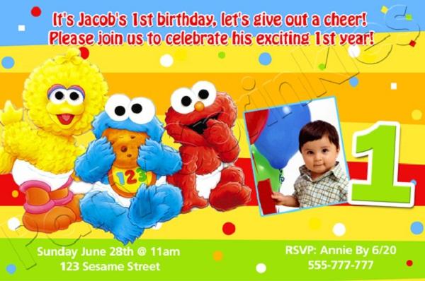 First birthday invitation cards for baby boy girl romantic love sesame street first birthday invitations sayings stopboris Images