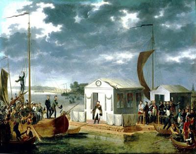 А. Роэн. Встреча Наполеона I и Александра I на Немане 25 июня 1807 года.