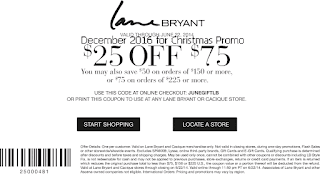 Lane Bryant coupons december 2016