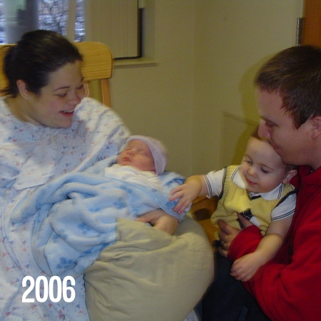 Jerry and I with the kids on the day Eli was born