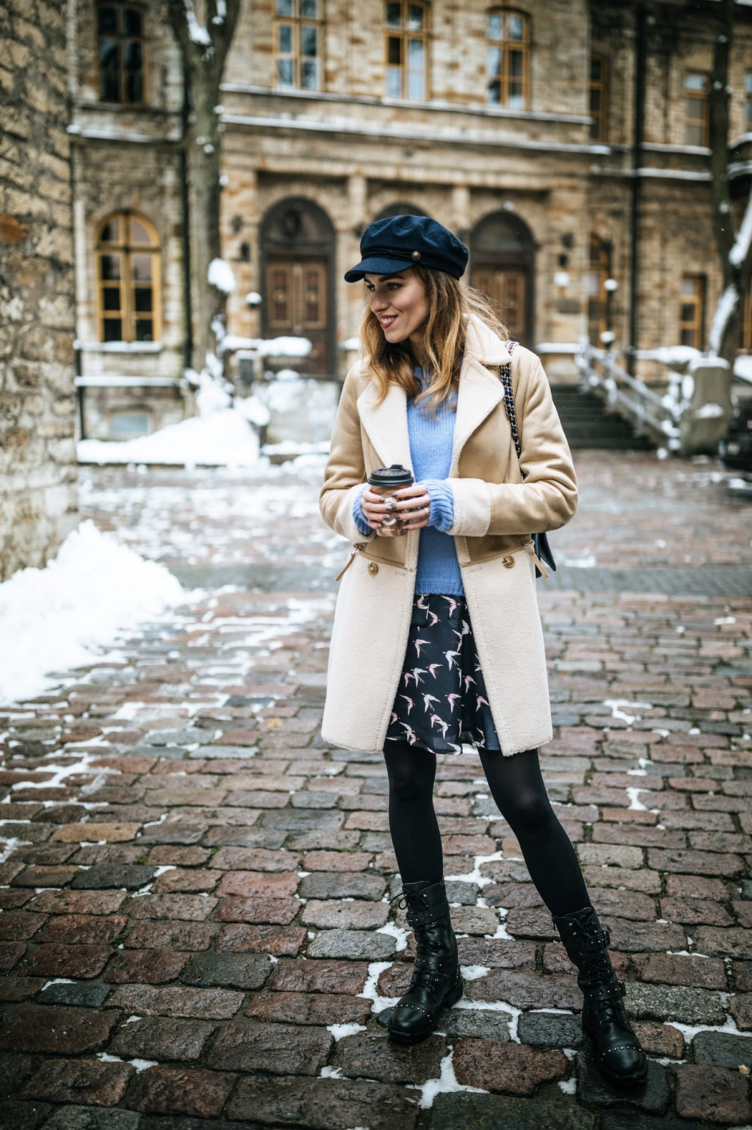 shearling coat floral dress sweater outfit fall