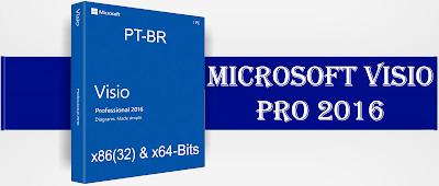 Aplicativo Microsoft Visio Professional 2016 (x86 x64) PT-BR DVD Capa
