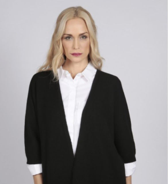 italy in cashmere black pure cashmere duster cardigan