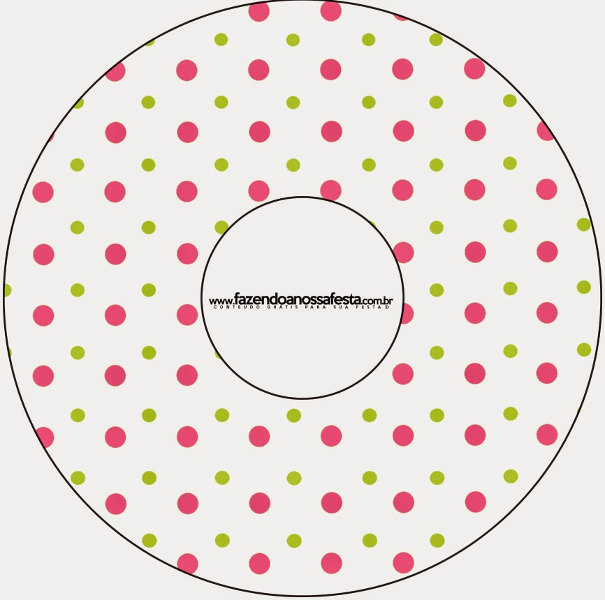 Pink, Green and White Polka Dots Free Printable CD Labels.