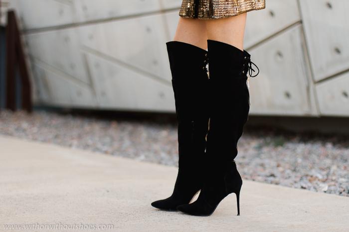 como combinar botas OTK altas con looks de fiesta navidad blog adicta a los zapatos