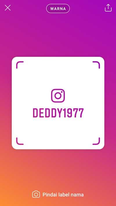 cara membuat nametag atau label nama instagram