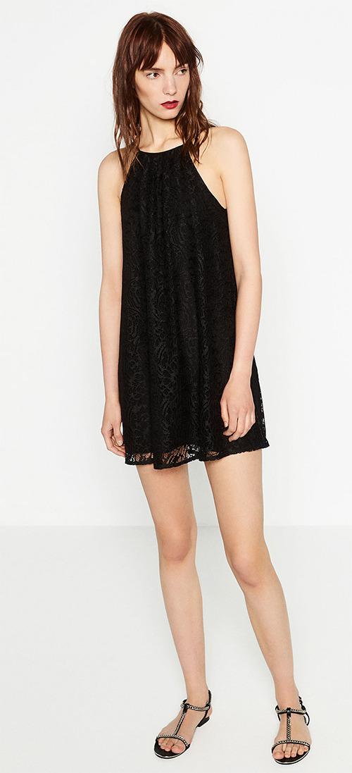 Robe courte noire en dentelle Zara