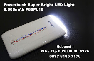 Powerbank Asven Plastik Senter 8.000mAh P80PL18 (GRANVIA), powerbank custom P80PL18, Powerbank senter, Souvenir powerbank 2 in 1, portable charger Powerbank premium untuk Souvenir Hotel / kantor