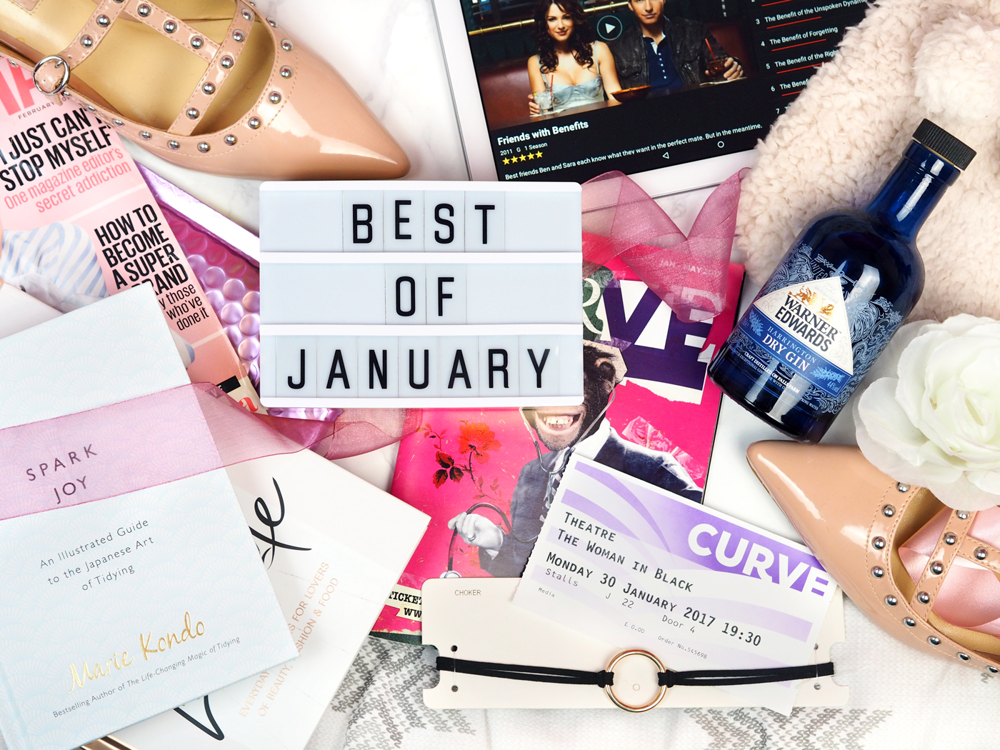Best Bits of January flatlay lifestyle favourites