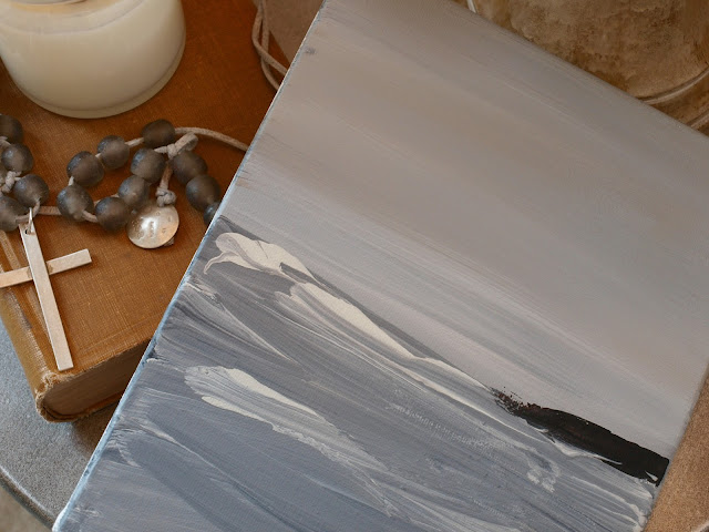 Beautiful abstract seascape on canvas by Hello Lovely Studio