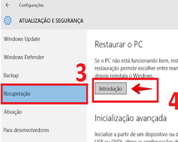 restauração do sistema windows 10