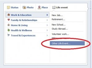 how to add a life event on facebook android
