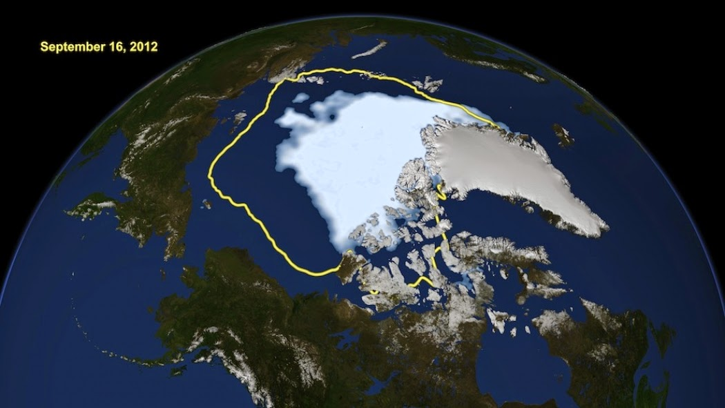 A comparison of the sea ice extent minimum on Sept. 16, 2012, (in white) to the average minimum during the past 30 years (yellow line).  (Credit: NASA) Click to enlarge.