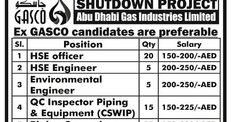 Oil and gas job vacancies: GASCO SHUTDOWN PROJECT (2 - 3 MONTHS