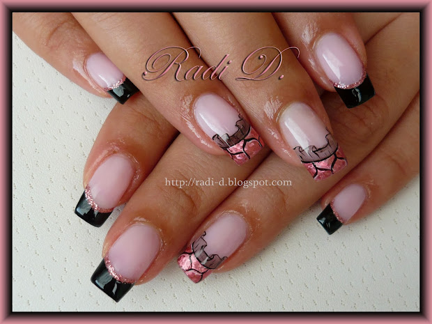 Nails Black French Pink Foil & Lace