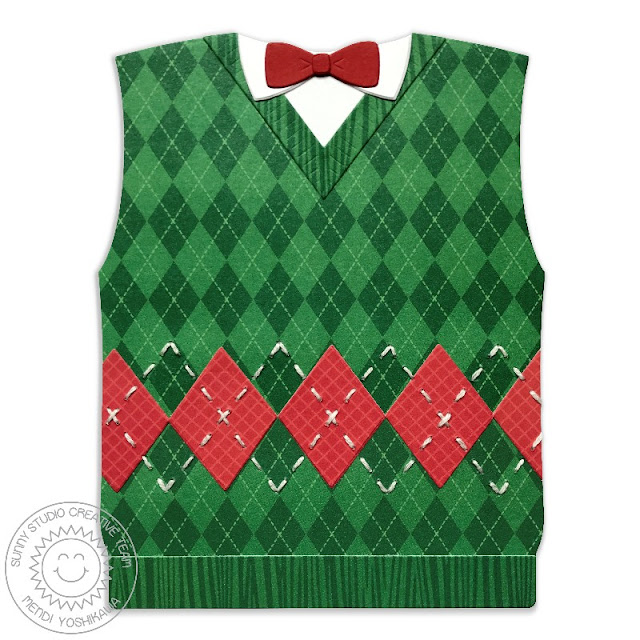 Sunny Studio Stamps: Argyle Sweater Vest with Bow Tie Shaped Christmas Card by Mendi Yoshikawa