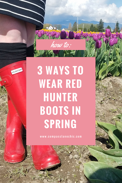 how to style red Hunter rain boots for spring