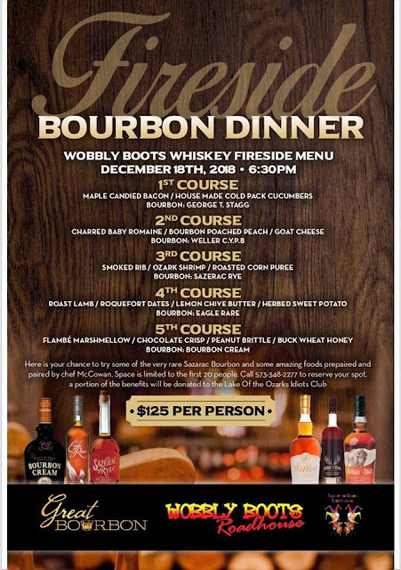 Wobbly Boots Roadhouse, Lake of the Ozarks, Bourbon Fireside Dinner December