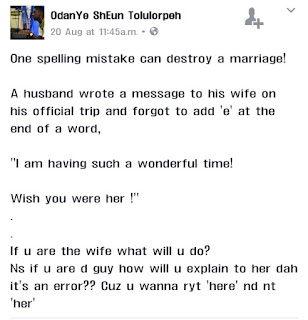 See What Omission of a Letter in a Word Has Caused in this Marriage