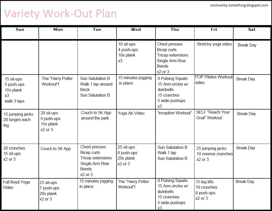 Mrs Twenty Something A Workout Plan